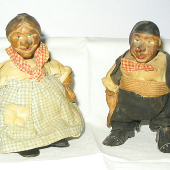 Primitive Carved Wooden Dolls  - Dolls