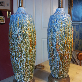 Pair of Mid-1900's Drip Glaze Paint Lamps - Lamps