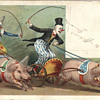 Clown laden pigs fantasy postcard