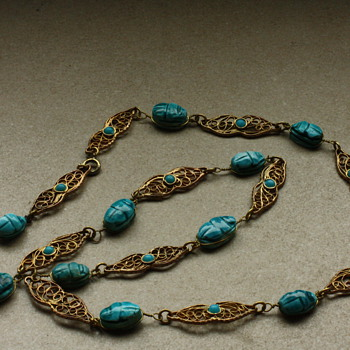 Egyptian revival scarab filigree necklace - Costume Jewelry
