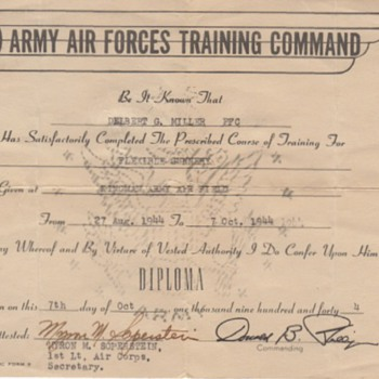 Del Miller flight diploma, plus cartoon - Military and Wartime