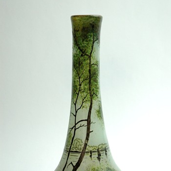 french art nouveau enamel glass vase by LEGRAS