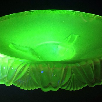 Large Art Deco uranium green glass bowl