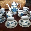 IMPERIAL NIPPON BLUE ROSE PATTERN COFFEE SET