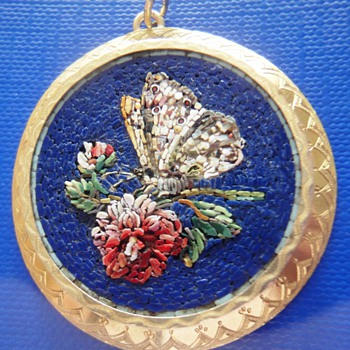14K Micro Mosaic Butterfly on Flower Pendant - Fine Jewelry