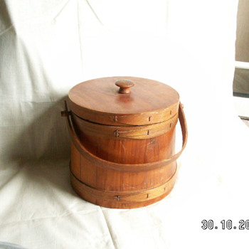 Antique Firkin/Sugar Bucket  (contents found inside)  - Sewing