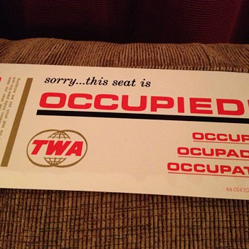 Vintage 1964 TWA occupied seat card - Advertising