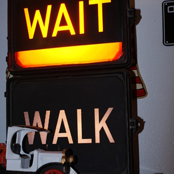 Wait Walk flashing sign