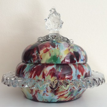 Welz covered bowl, flame finial - Art Glass