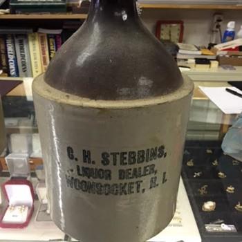 C.H. Stebbins Liquor Dealer Woonsocket, R.I. Stoneware 1 gal. Jug - Art Pottery