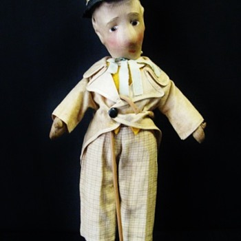 Cloth Molded Face Doll European ca.1930