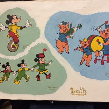Disney painting on canvas signed Keith - Advertising