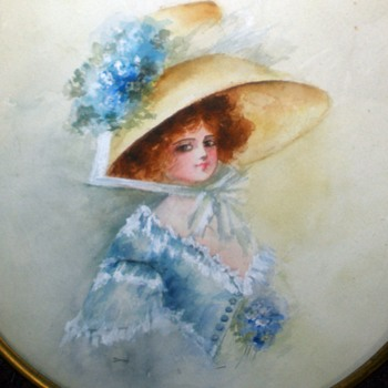 Prettiest Gibson Girl In The World! Watercolor Painting Brass & Lead Ormolu frame. - Visual Art