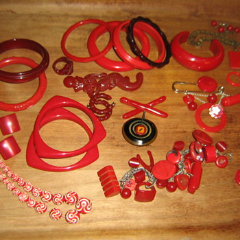 Cherry red bakelite and lucite yummies - Costume Jewelry