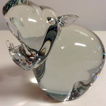 Crystal Hippo Paper Weight Figurine