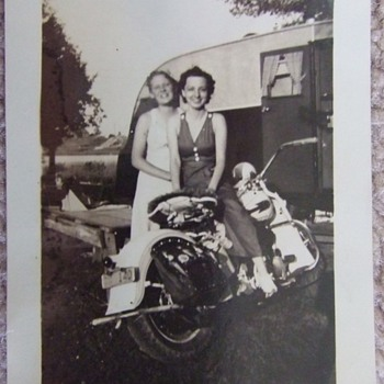 Photograph of two women with a Harley c. 1938