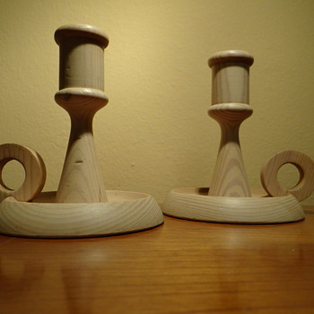 VINTAGE WOODEN CANDLESTICK HOLDERS  -MADE IN SWEDEN - Mid Century Modern