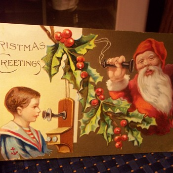 CHRISTMAS POSTCARD 1915, SANTA ON TELEPHONE