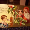 CHRISTMAS POSTCARD 1915, SANTA ON TELEPHONE