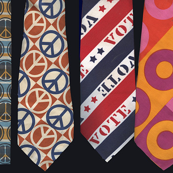 4 1960s- early 1970s Hippie Era Neckties / Ties. - Accessories