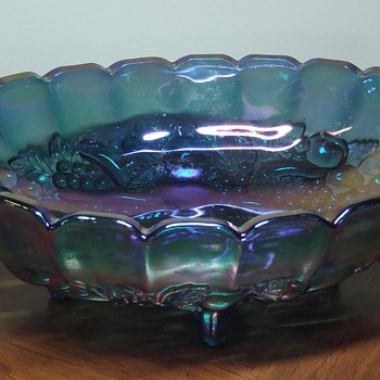 Teal Oval Carnival Glass Bowl