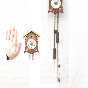 Rare, Jockele mini,   early  Black forest striking miniature wall clock.  Ca. 1840
