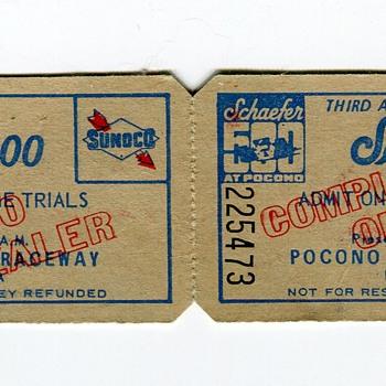 1973 Schaefer 500 TT Tickets @ Pocono Raceway - Breweriana