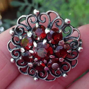 Bernard Instone Silver and Garnet Brooch