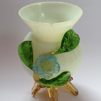 Victorian glass vase with applied flower & feet
