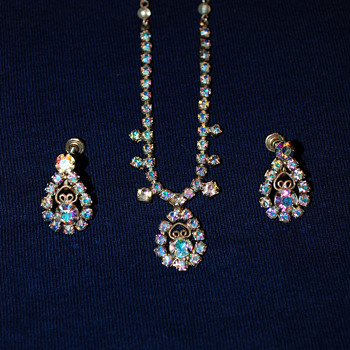 Aurora Borealis Costume Jewelry-Necklace and Earrings
