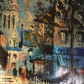 Painting of a street scene. - Visual Art