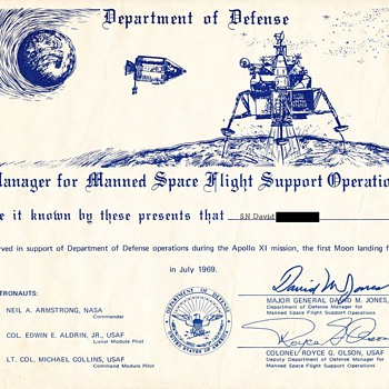Apollo 11 Defense Department Certificate - Military and Wartime