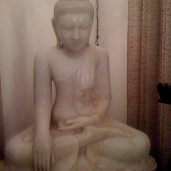 "Buddha sculpture from (we believe) the 1904 World's Fair.  White marble; weight 300 pounds; 34"" tall; 30"" wide; 15"" deep."