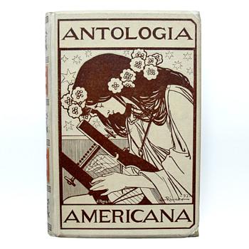 """Book cover """"ANTOLOGÍA AMERICANA"""", Alexandre de Riquer (Editorial Montaner i Simón, 1897))"""