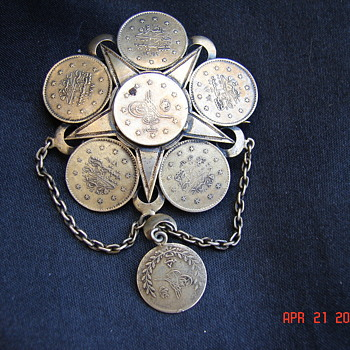 Asian Coin Pin Brooch With C Clasp - Asian