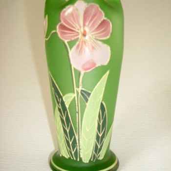 Goldberg Satin Glass Vase with Enamelled Orchid - Art Glass