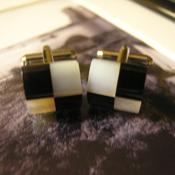Black n' White Checkered (Lucite) Cuff Links - Accessories