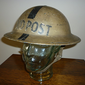 British WWII First Aid Post steel helmet - Military and Wartime