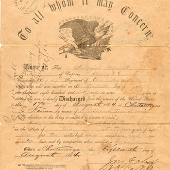 4th Great Grandfather's Civil War Discharge - Paper