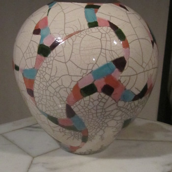 Amadio Smith Racu Art Pottery Vase. Mosaic Confetti on Crackle Glaze...Laguna Calif.