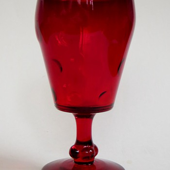 Ruby Goblets, Glasses~Deep Red with Dot Pattern~Beautiful Quality, maker? - Glassware