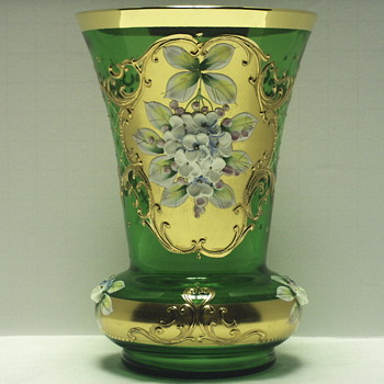Czech Cut Bohemia Emeral Green Glass  Cut Vase Decorated In Gold Trim