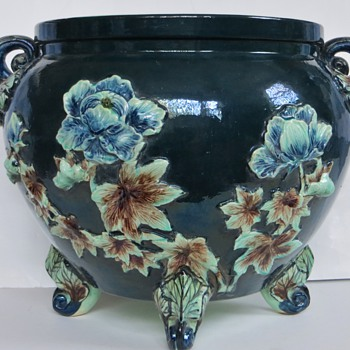 Large Majolica Jardiniere, Sculpted Peonies, Handles and 3 Footed~Chinese?