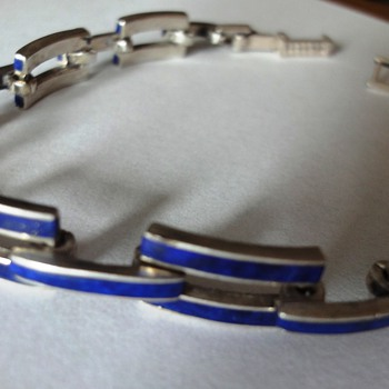 Art Deco Silver Lapis Lazuli bracelet - Fine Jewelry
