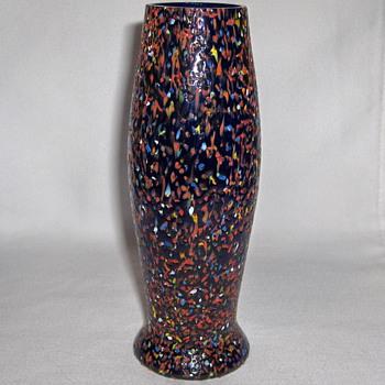 Bohemian Czech (Kralik or Ruckl) Cobalt & Multi-Heated Glass Chip Layer Vase