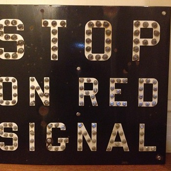 Cat Eye Railroad Stop on Red Signal Sign - Railroadiana