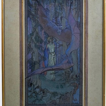 1923 Dulac, Leduc, Rackman style watercolor mystery. - Visual Art