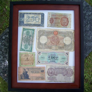European Wartime Currancy 1930s and 40s Framed - Military and Wartime