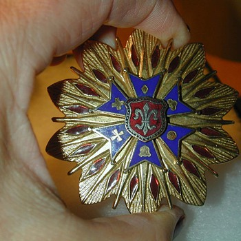 Post EX War Veterans Large 6 pointed Star in blue Enamel Corps Badge medal