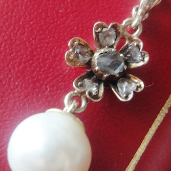 Victorian Pearl rose gold rose cut diamond pendant